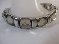 Ann Taylor Lee Angel Smoke Crystal Silver Bar Stretch Bracelet