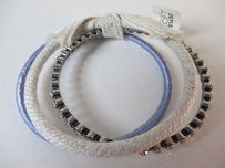 Ann Taylor LOFT Ann Taylor Loft Crystal Lavender Satin Rope Bangle Bracelet Set Of