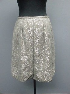Ann Taylor LOFT Silver Metallic Lined Knee Length Bubble Sm3468 Skirt Gray