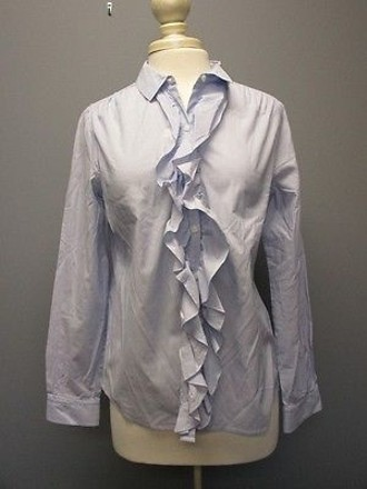 dd9f6a8b4 Ann Taylor LOFT Ann Taylor Loft Blue Cotton Long Sleeve Ruffle Button Front  Shirt Sma 6258