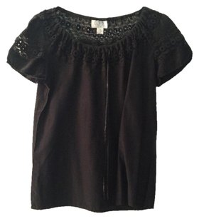 Ann Taylor LOFT Cotton Silk Embroidered Top BLACK