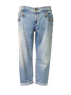 Ann Taylor LOFT Denim Gems Chic Boyfriend Relaxed Fit Jeans-Light Wash