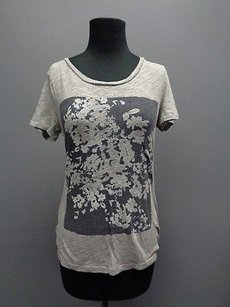 Ann Taylor LOFT Short Sleeved Floral Casual Sma7883 T Shirt Gray