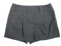 Ann Taylor LOFT Dark Marisa Polka Dot Pleated Front Mini/Short Shorts Gray