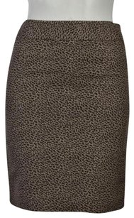 Ann Taylor LOFT Petite Womens Pencil 00 Printed Above Knee Skirt Brown