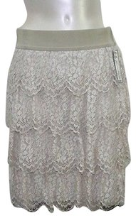 Ann Taylor Cream Lace Ruffled Mini Skirt