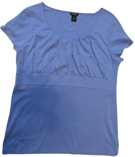 Ann Taylor Ruched Blue T Shirt Top