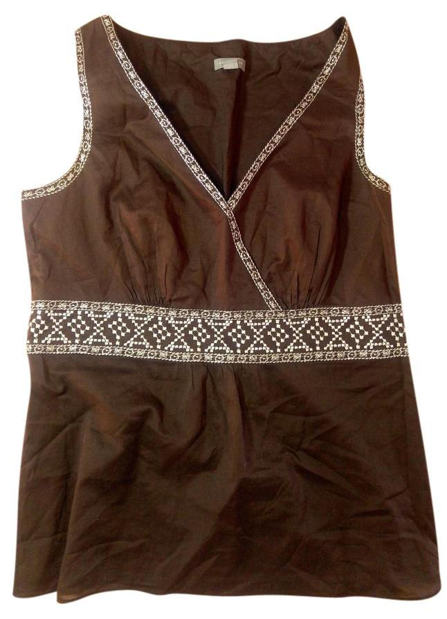 high-quality Ann Taylor BROWN WHITE Dress Size 4 Small Sleeveless ...