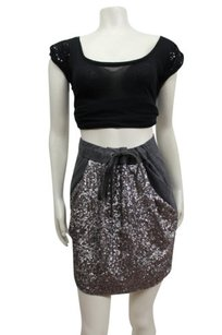 Ann Taylor Whimsical Sequin Skirt Charcoal Gray