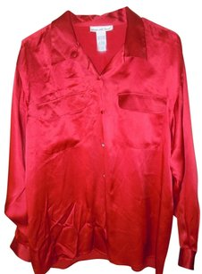 Anna And Frank Silk Large Blouse Button Down Shirt Red