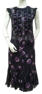 Anna Sui Anna Sui 100 Silk Sheer Blue Violet Floral Multi Top Pc Lined Skirt