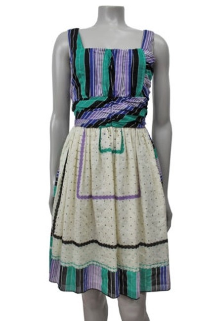 good Anna Sui Blue Printed Ruched Empire Waist Dress