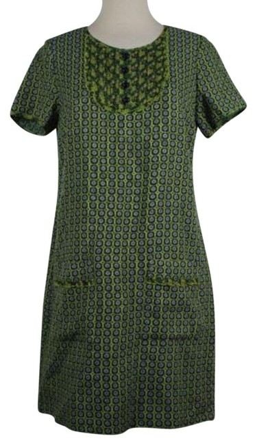 Anna Sui Womens Green Floral Dress Short Sleeve Above Knee Sheath durable service