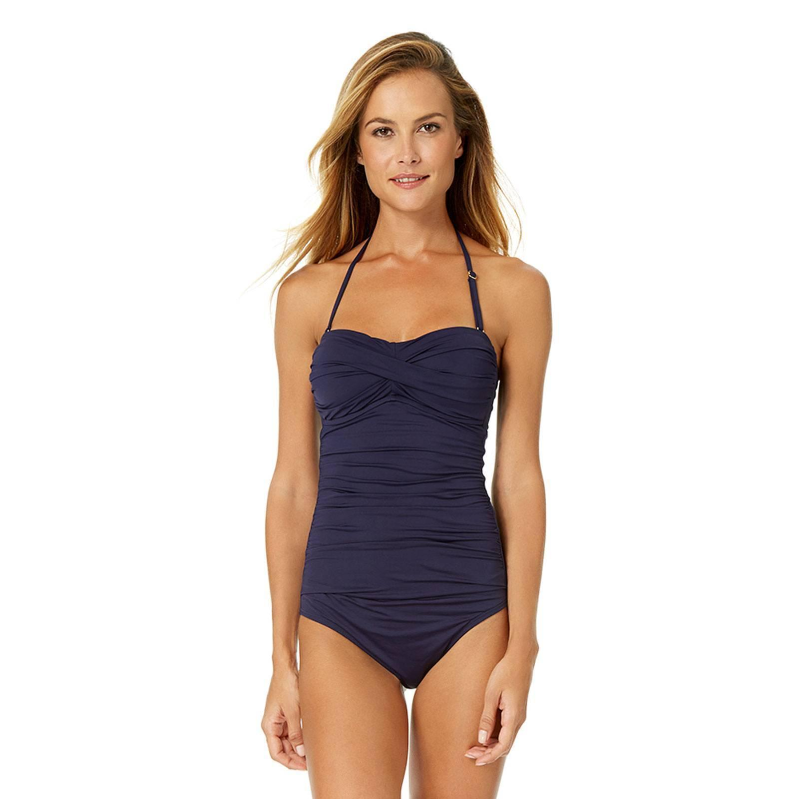 Anne Cole Navy Signature Front Ruched Bandeau Swimsuit One