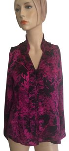 Anne Klein Button Down Shirt Fuschia Black