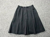 Anne Klein Ii Wool Solid Lined Zip Pleated Sma 7807 Skirt Black
