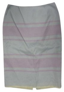 Anne Klein Striped Back Zipper Pencil Sma3930 Skirt Purple Blue Green