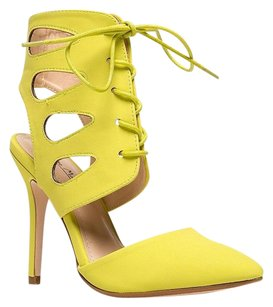 Anne Michelle 30heelsale Ankle-strap Yellow Pumps