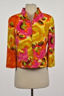 Anthracite Anthracite Womens Pink Printed Blazer Cotton 34 Sleeve Career Jacket