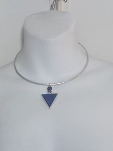 Anthropologie Anthropologie Antique Silver Blue Stone Spike Choker Necklace