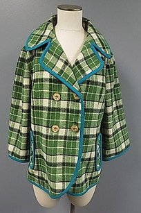 Anthropologie Tabitha Button Up W Polyester Blend 207a Green And Beige Jacket