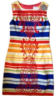 Anthropologie Colorful Embroidery Striped Dress