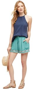 Anthropologie Embroidered Waisttie Dress Shorts Turquoise