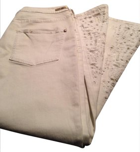 Anthropologie Embroidered Straight Pants White