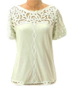 Anthropologie Grosgrain Trim Lace Inserts T Shirt Pale Green