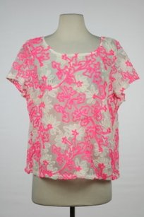 Anthropologie Meadow Rue Top Pink, White