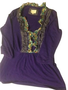 Anthropologie Ruffle Print Contrast Top Purple