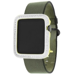 Apple 42mm Apple Watch Ios Touch Gold Tone Simulated Diamond Green Nylon Band Custom