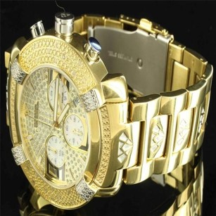 Aqua Master Mens 14k Yellow Gold Finish Diamond King Aqua Master Jojino Rodeo Metal Watch