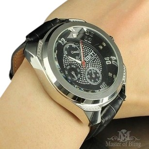 Aqua Master Mens Watches Bm Silver Joe Leather Band Rodeo Special Design Triple Dial