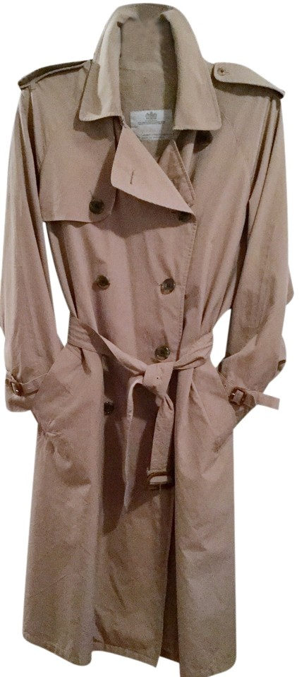 Large Vintage Burberry Trench Coat Classic Men's Extra Large Size Beige Tan XL