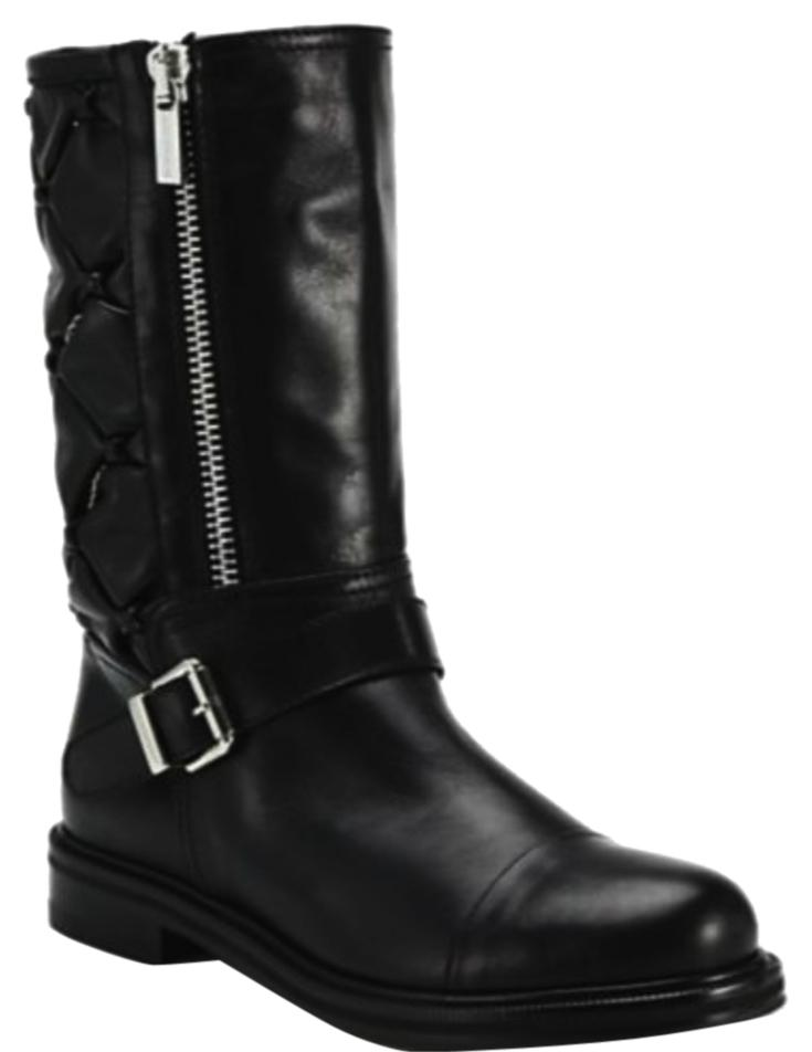Aquatalia Black Barabara Quilted Chain Boots/Booties Size US 8.5