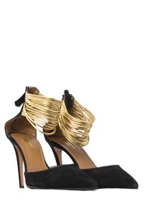 Aquazzura Suede Leather Ankle Strap Black and Gold Pumps