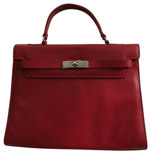 Argentine Leather Satchel in Red