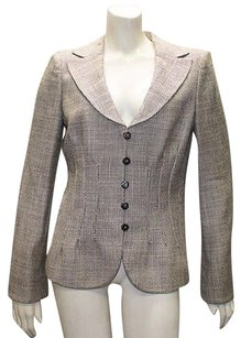 Armani Collezioni Armani Collezioni Tan Brown Silk Blend Blazer Jacket Hs1327