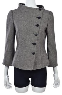 Armani Collezioni Womens Brown Basic Wool Long Sleeve Textured Coat Multi-Color Jacket