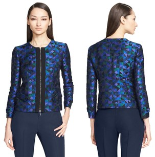 Armani Collezioni Geometric Chic Contemporary Vibrant Celebrity Blue, Green, Black Jacket