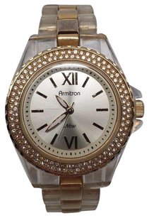 Armitron Armitron Ladies 753935wtto Gold Tone Crown Clear Band And Diamond Accent
