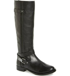 Arturo Chiang Leather Tall Riding Buckle Black Boots