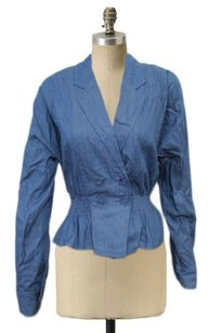 Aryn K Style Chambray Smocked Cinched Waist Blue Jacket