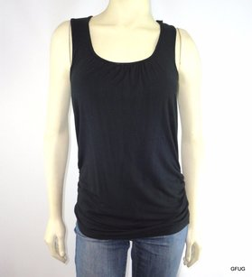 Athleta Athleta Black Workout Fitness Shirred Tank Top Shirt Built-in Bra Shelf