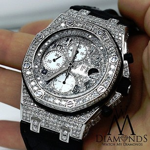 Audemars Piguet Audemars Piguet Royal Oak Offshore Chronograph Diamonds Watch On Leather Strap