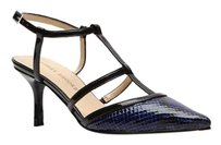 Audrey Brooke Pointed Toe Strappy Ankle Strap Textured BLUE BLACK RETILE Pumps