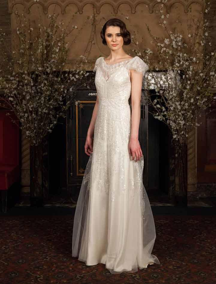 Austin Scarlett Ivory Beaded Tulle With Silk Charmeuse Lining Lucerne As43  X Formal Wedding Dress Size