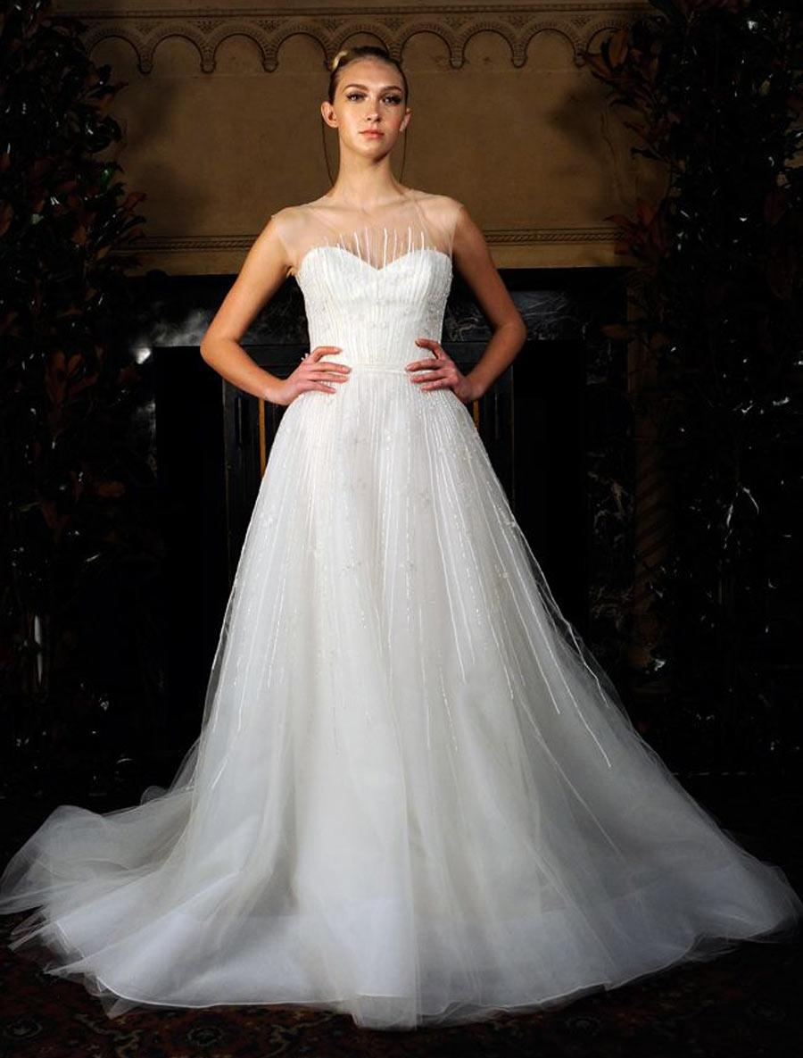 Austin Scarlett Light Ivory/Soft White Beaded Tulle Aurora Formal Wedding  Dress Size 8 ...