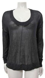 Autumn Cashmere Sheer Mesh Snake Scoop Top Black